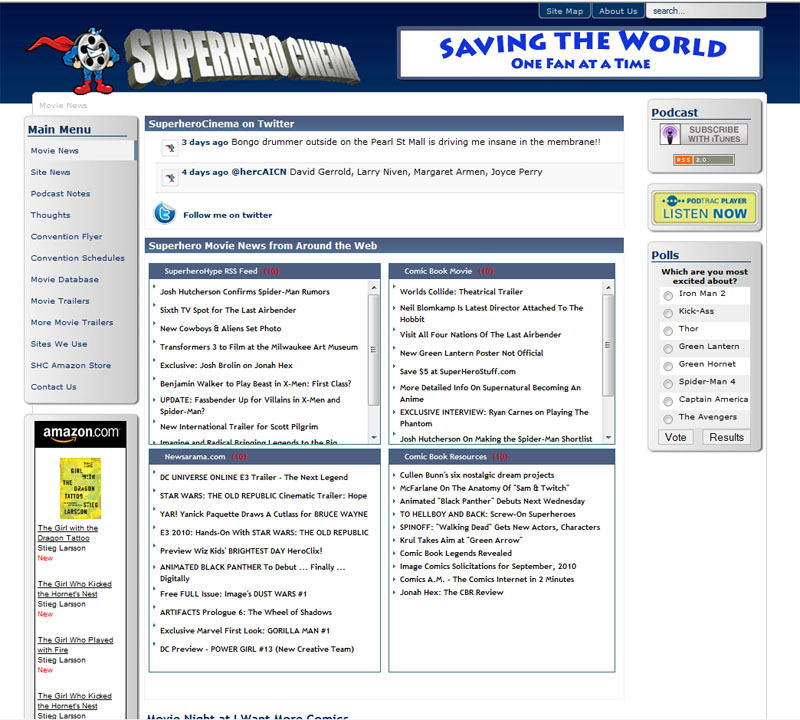 Superhero Cinema Site Design 2007-2010